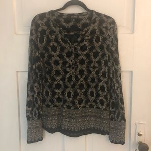 Lucky Brand Medium Black and Tan Popover Blouse